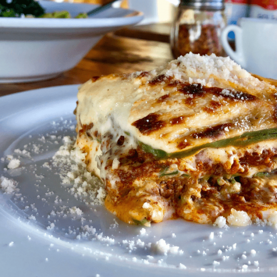 Green spinach lasagna on a plate